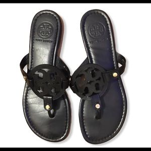 TORY BURCH Miller Black classic Leather sandals 7